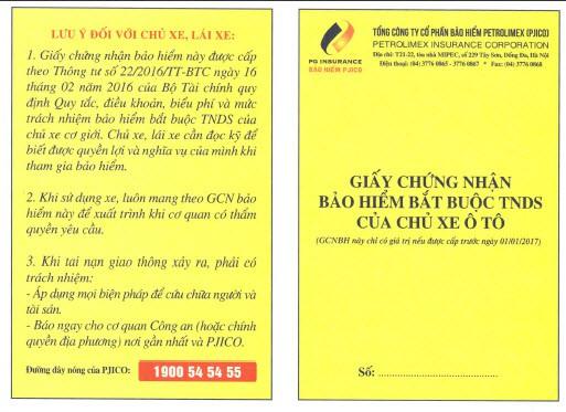giấy chứng nhận bảo hiểm ô tô bắt buộc